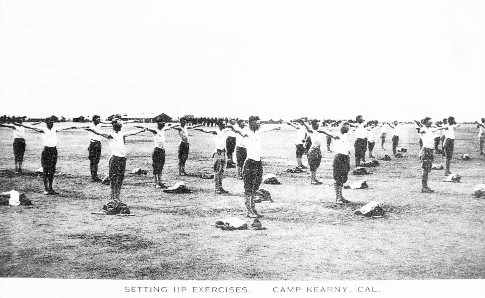 Members of the US Army (USA) 40th Division setting up for exercises at Camp Kearny, California (CA). Note: In the future this area became the US Navy (USN) Naval Air Station Miramar. (Exact Date Shot Unknown)