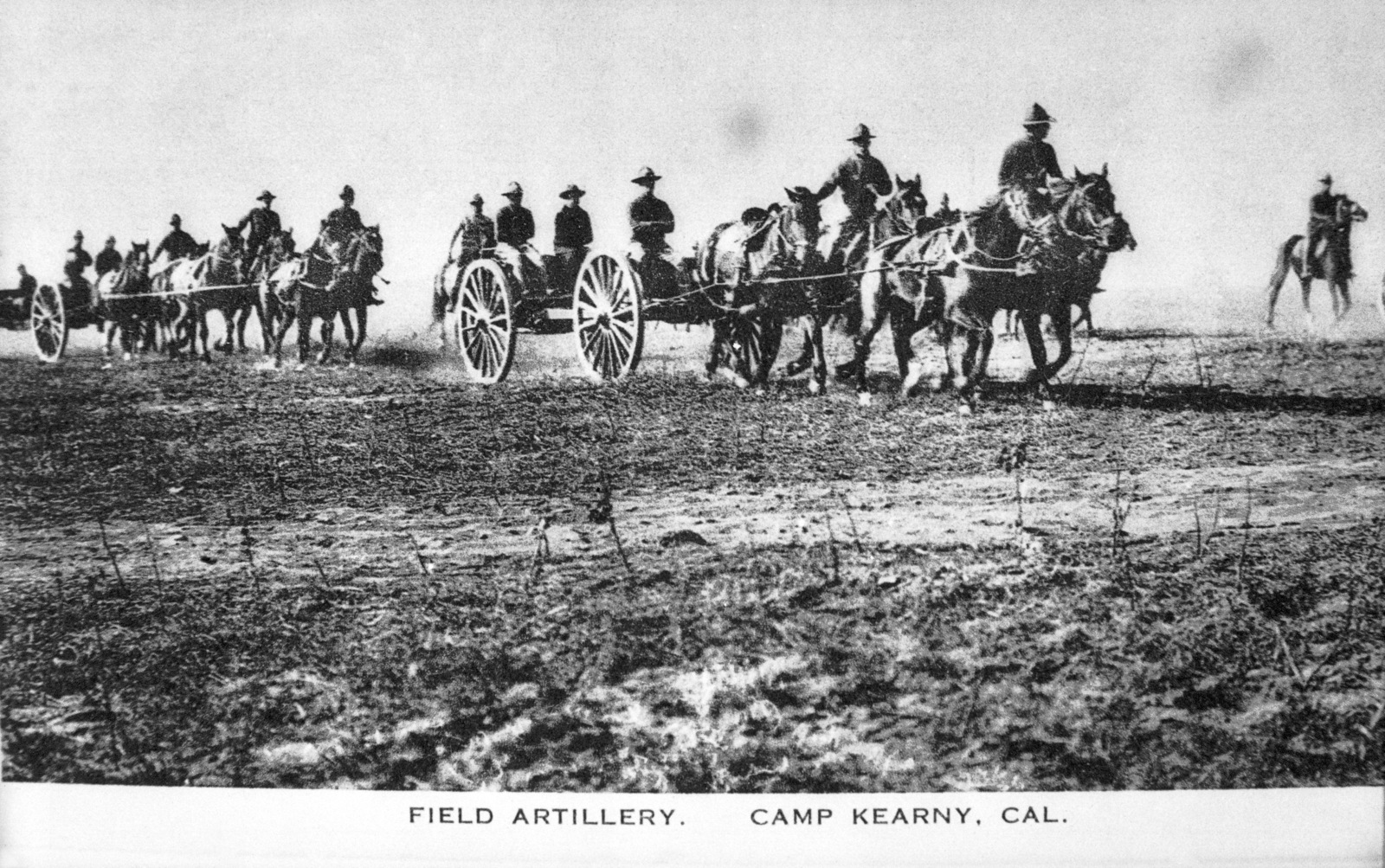 Movement of horse drawn field artillery, probably 75mm cannon, at Camp Kearny, California (CA). Note: In the future this area became the US Navy (USN) Naval Air Station Miramar. (Exact Date Shot Unknown)