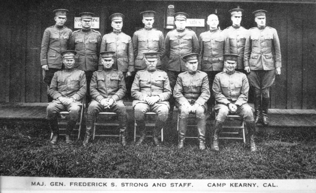 US Army (USA) Major General (MGEN) Frederick S. Strong, Commander, 40th Division, and his staff pose for a group photo at Camp Kearny, California (CA). MGEN Strong is the first Commander of the 40th Division. Note: In the future this area became the US Navy (USN) Naval Air Station Miramar. (Exact Date Shot Unknown)
