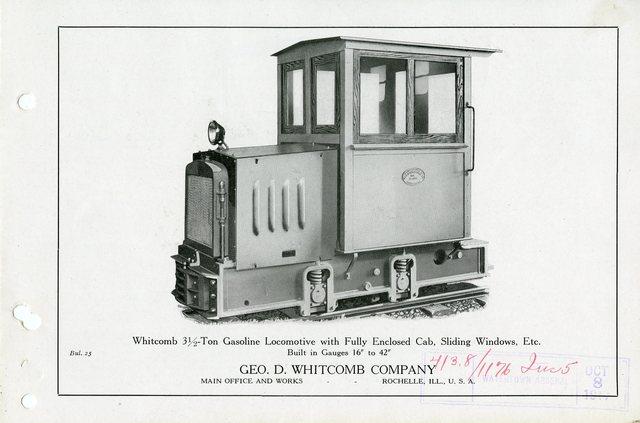 Whitcomb 3 1/2 Ton Gasoline Locomotive with Fully Enclosed Cabm Sliding Windows, Etc.