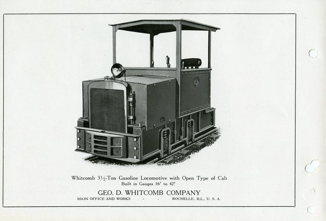 Whitcomb 3 1/2 Ton Gasoline Locomotive with Open Type of Cab