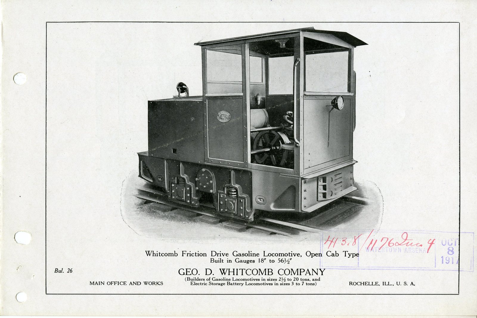 Whitman Friction Drive Gasoline Locomotive, Open Cab Type