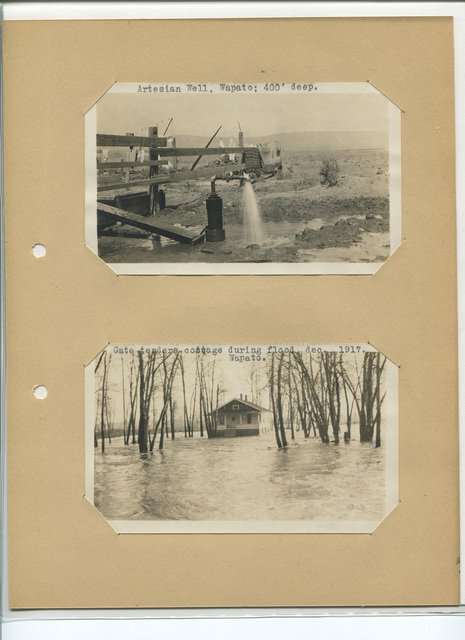Artesian Well, Wapato, 400' Deep; Gate Tenders Cottage during Flood Dec. 1917, Wapato