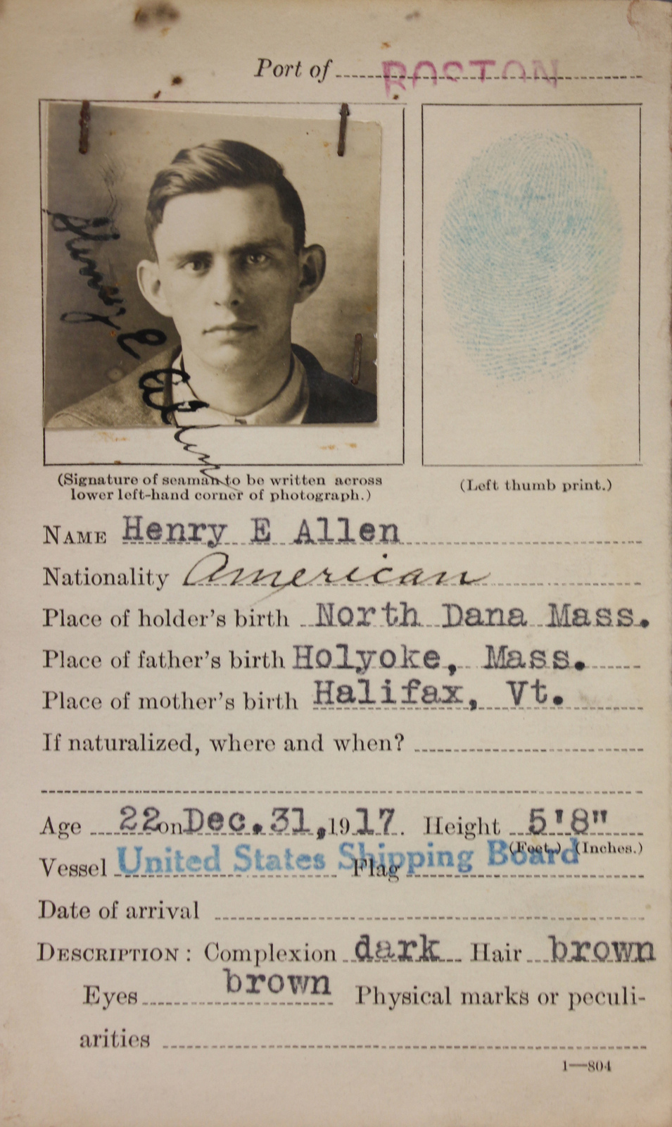 Seamen's Identification Card for Henry E  Allen - U S