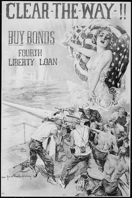 Clear The Way!! Buy Bonds. Fourth Liberty Loan. Color poster by Howard Chandler Christy.