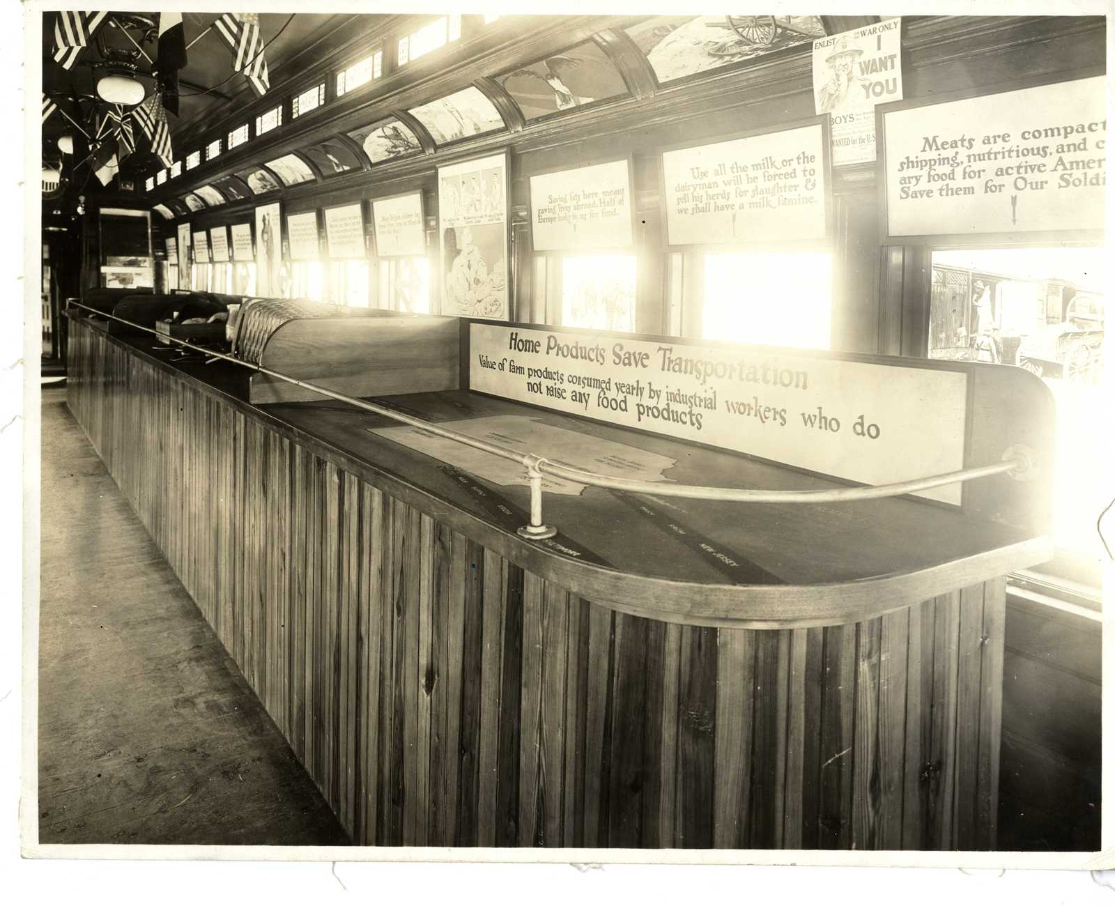 Photograph of Pennsylvania Food Conservation Train Exhibit on Buying Home Products to Save Fuel