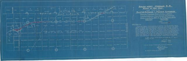 South West Missouri Railroad, Right of Way Map, West Half of the Baxter Springs and Picher Extension, Showing Exposed Right of Way in Ottawa County Oklahoma from Station 605+72 to Station 781+76