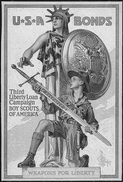 U*S*A Bonds. Third Liberty Loan Campaign. Boy Scouts of America. Weapons for Liberty. Color poster by Joseph Christian Leyendecker.