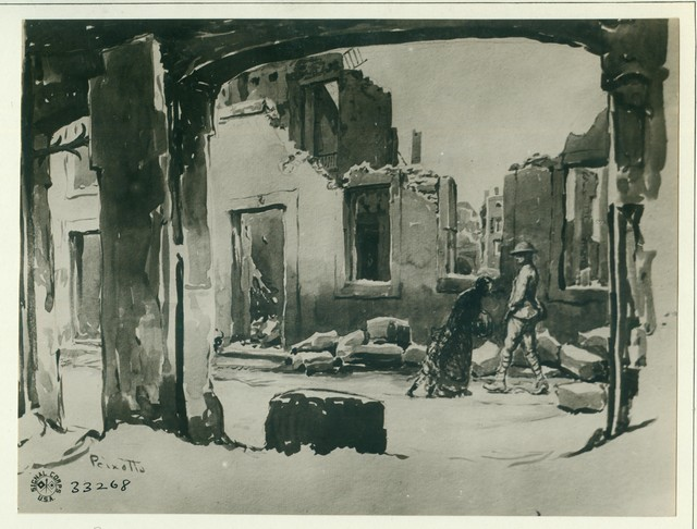 Photograph of the Painting of a Ruined Street in Baccarat