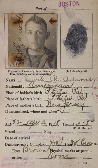 Seamen's Identification Card for Lewis R. Adams