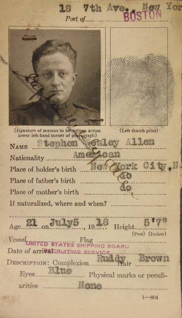 Seamen's Identification Card for Stephen Wesley Allen