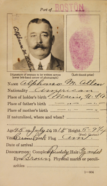 Seamen's Identification Card for Alphonso M. Allen