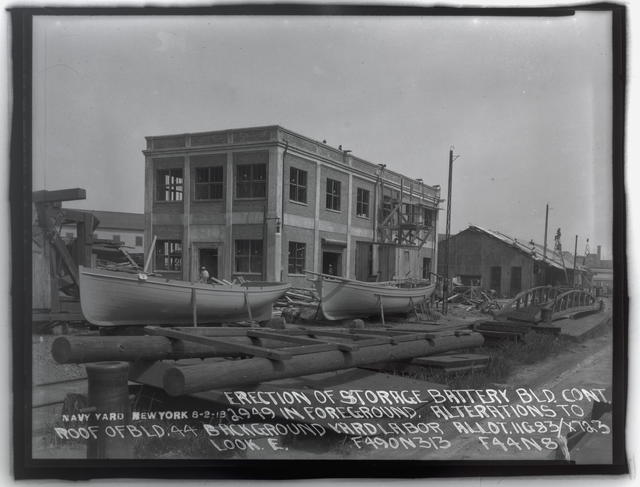 Erection of Storage Battery Building Containing 2949 in Foreground, Alterations to Roof of Building Number 44 Background, Looking East