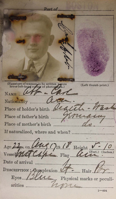 Seamen's Identification Card for Carl Abb