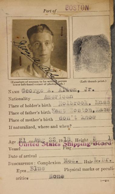 Seamen's Identification Card for George A. Alden Jr.