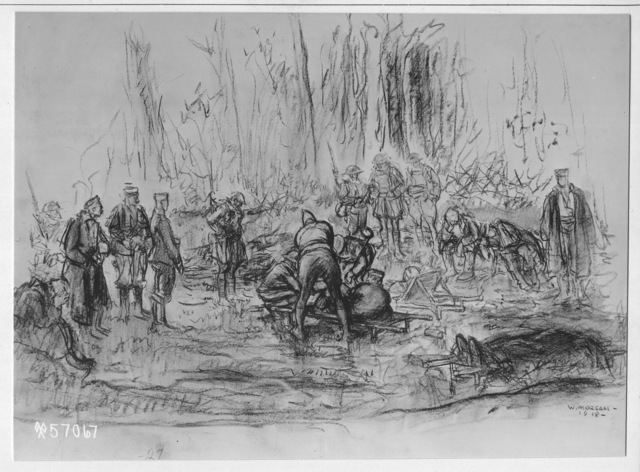 Photograph of a Drawing of United States Medical Officers Attending Wounded German Prisoners near Montilly by Wallace Morgan