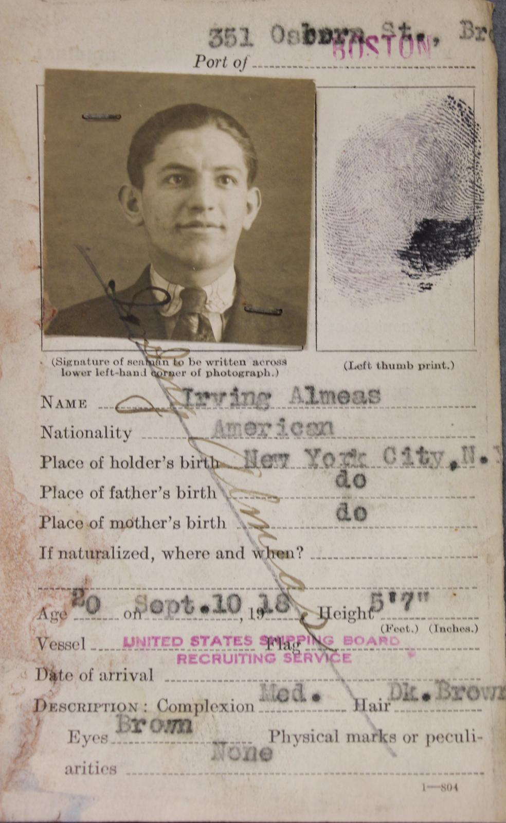 Seamen's Identification Card for Irving Almeas - U S