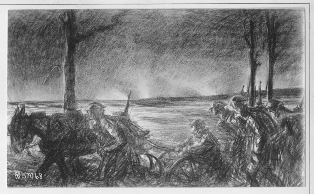 Photograph of a Drawing of a Machine Gun Outfit Moving Forward near Esnes during Artillery Attack by Wallace Morgan
