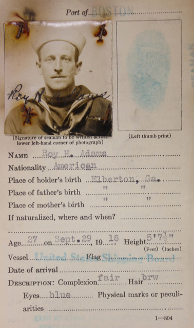 Seamen's Identification Card for Roy H. Adams