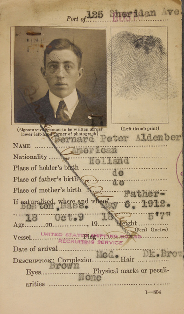 Seamen's Identification Card for Bernard Peter Aldenber