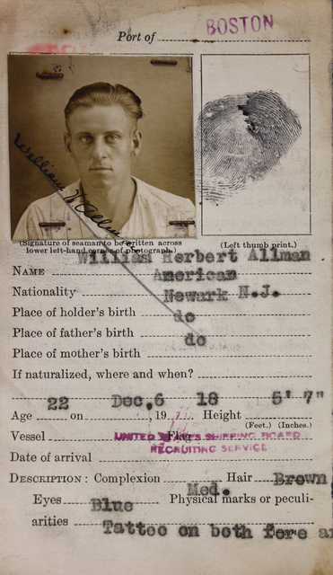 Seamen's Identification Card for William Herbert Allman