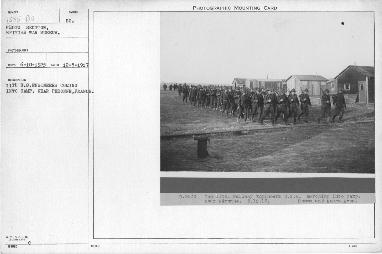 11th U.S. Engineers coming into camp. Near Peronne, France. 12-5-1917