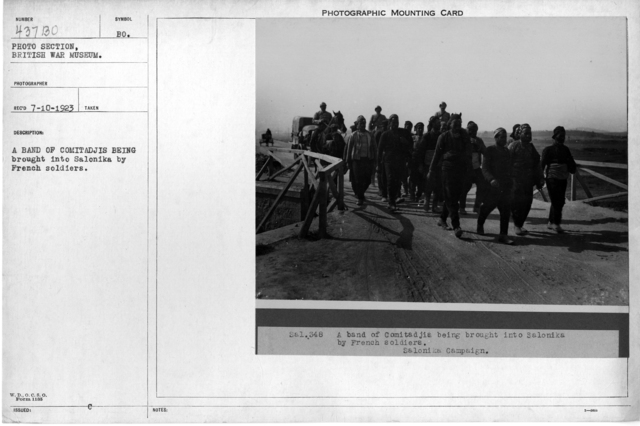A band of Comitadjis being brought into Salonika by French soldiers