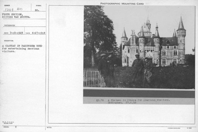 A chateau in Radinghem used for entertaining American visitors. 4-27-1918