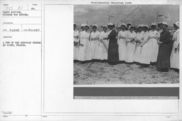 A few of the American nurses at Rouen, France. 6-1-1917