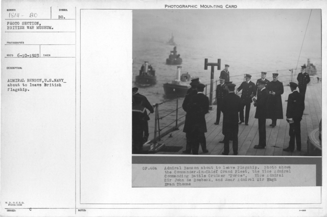 Admiral Benson, U.S. Navy_ about to leave British flagship