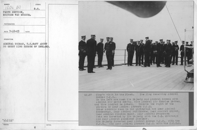 Admiral Rodman, U.S. Navy about to greet King George of England