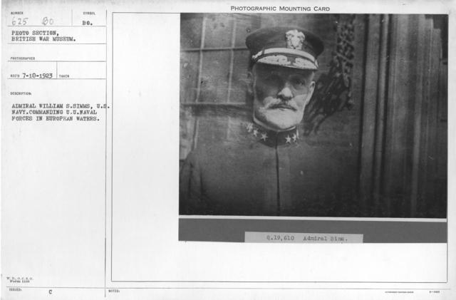 Admiral William S. Simms, U.S. Navy. Commanding U.U. Naval Forces in European waters