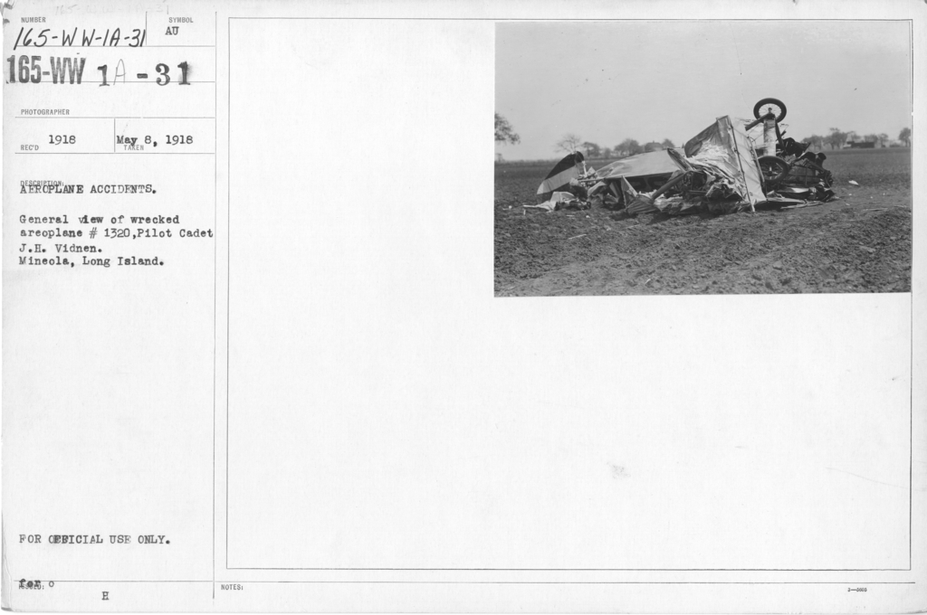 Airplanes - Accidents - Aeroplane Accidents. General view of wrecked aeroplane #1320, Pilot Cadet J.H.Vidnen. Mineola, Long Island