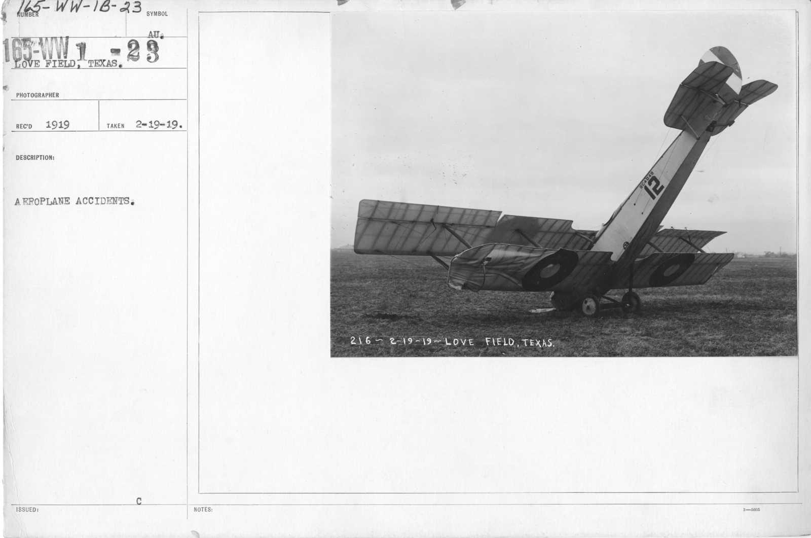 Airplanes - Accidents - Aeroplane Accidents. Love Field, Dallas, Texas