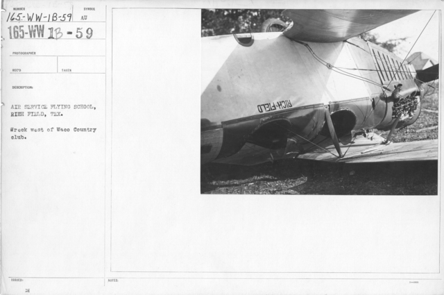 Airplanes - Accidents - Air Service Flying School, Rich Field, Texas. Wreck west of Waco Country club
