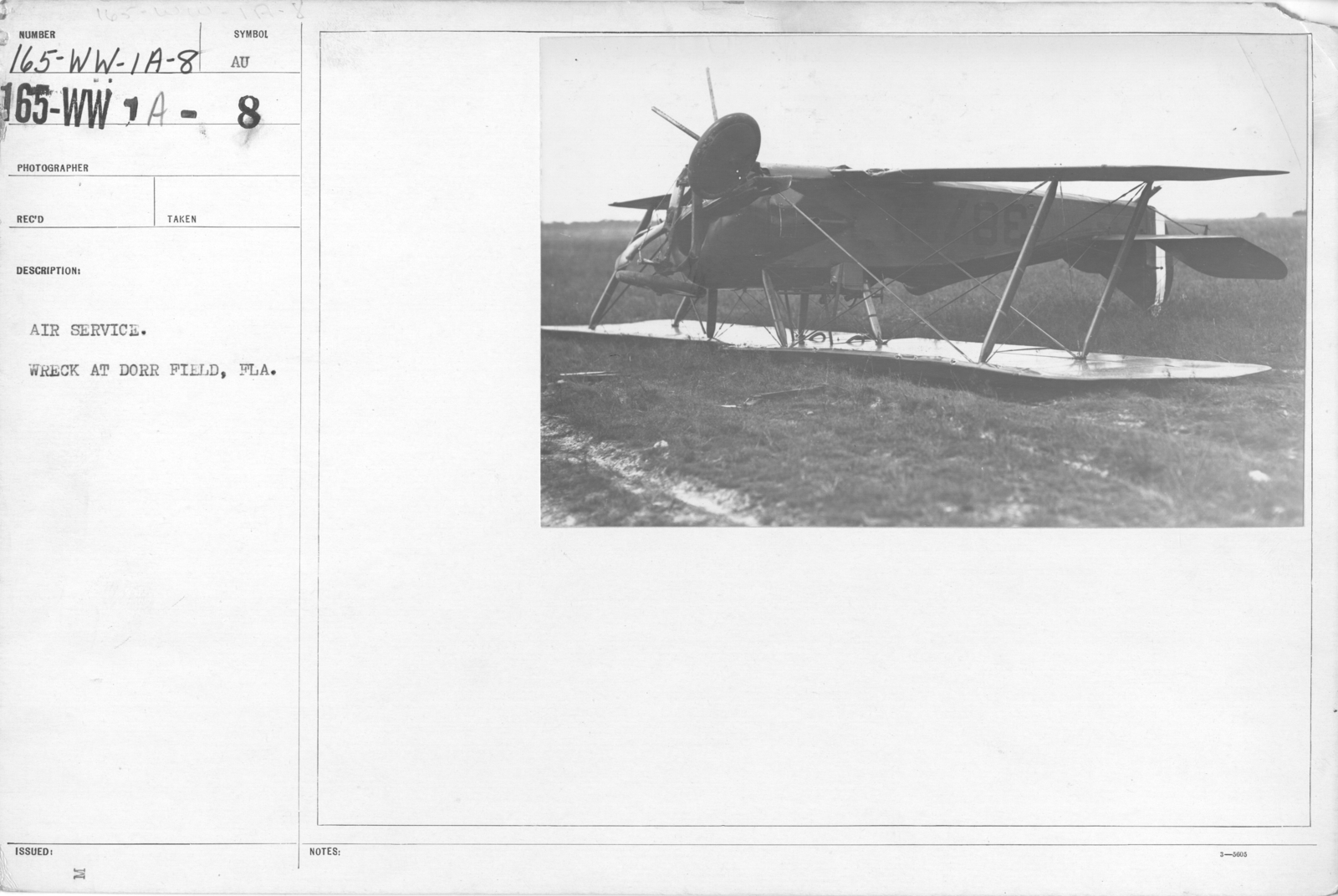 Airplanes - Accidents - Air Service. Wreck  at Dorr Field, Fla