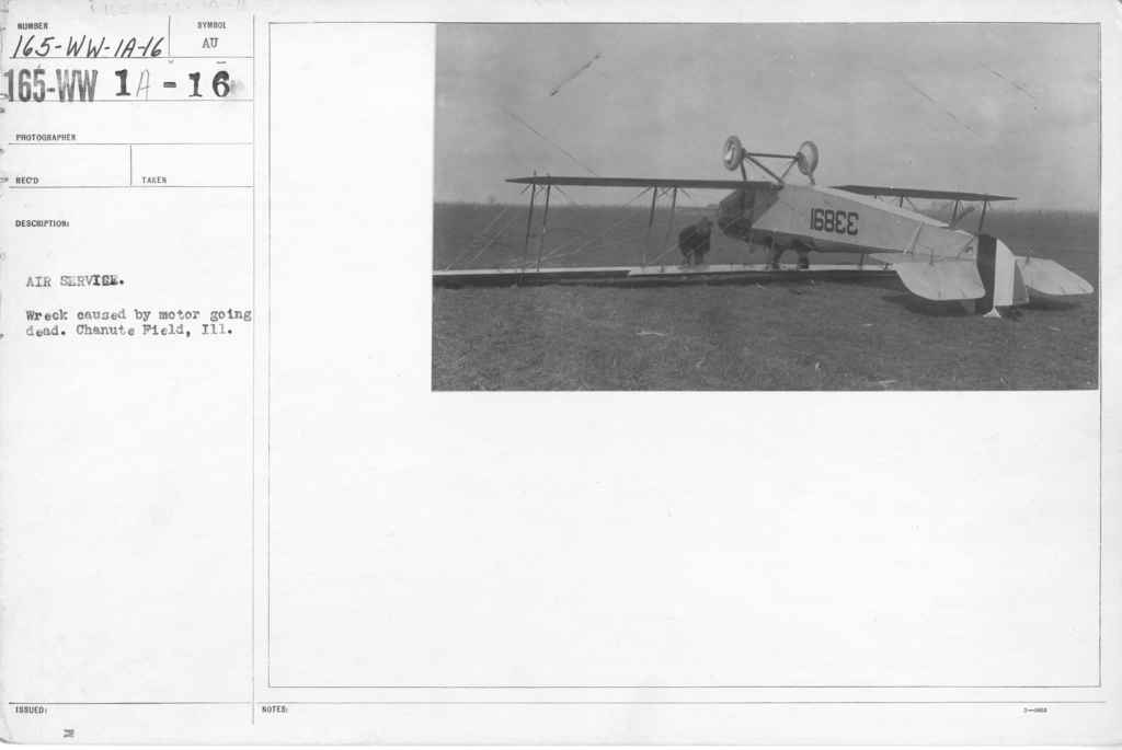 Airplanes - Accidents - Air Service. Wreck caused by motor going dead. Chanute Field, ILL