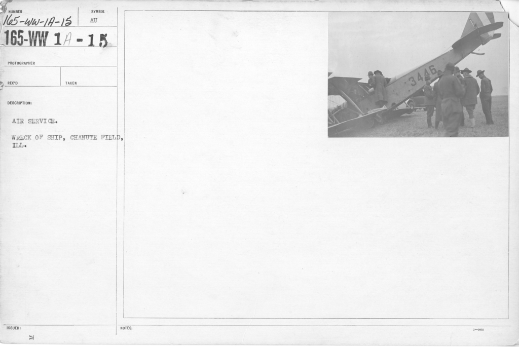 Airplanes - Accidents - Air Service. Wreck of ship, Chanute Field, ILL
