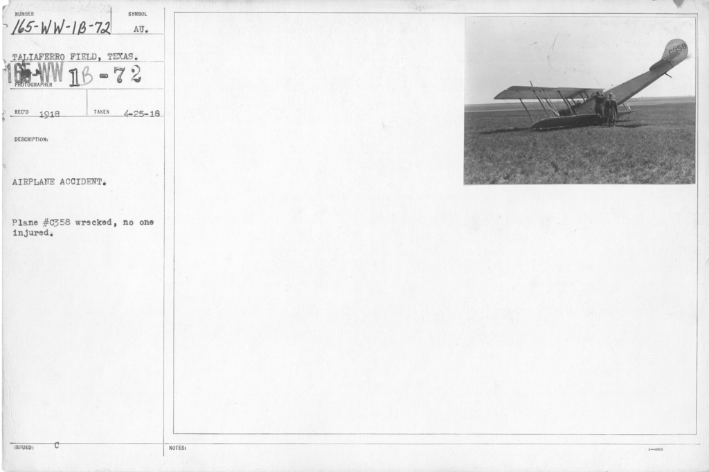 Airplanes - Accidents - Airplane Accident. Plane #C358 wrecked, no one injured. Taliaferro Field, Texas