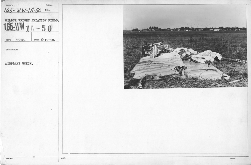 Airplanes - Accidents - Airplane Accident. Wilbur Wright Aviation Field, Dayton, Ohio