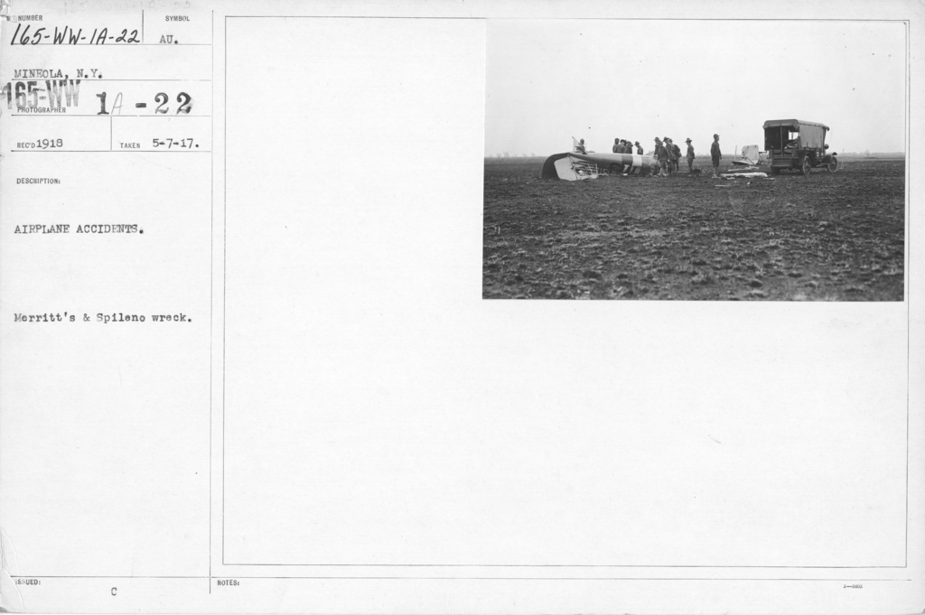 Airplanes - Accidents - Airplane Accidents. Merrit's & Spileno wreck. Mineola, N.Y,