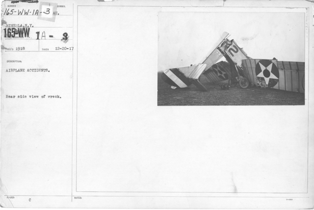 Airplanes - Accidents - Airplane Accidents. Rear side view of wreck. Mineola, N.Y