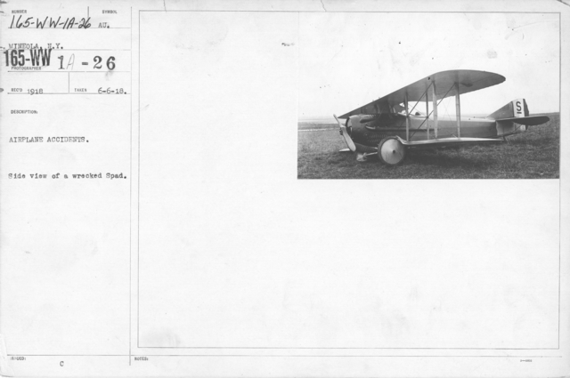 Airplanes - Accidents - Airplane Accidents. Side view of a wrecked Spad. Mineola, N.Y