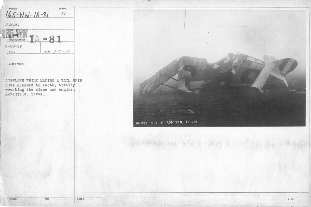 Airplanes - Accidents - Airplane while making a tail spin dive crashed to earth, totally wrecking the plane and engine, Love Field, Texas. D.M.A