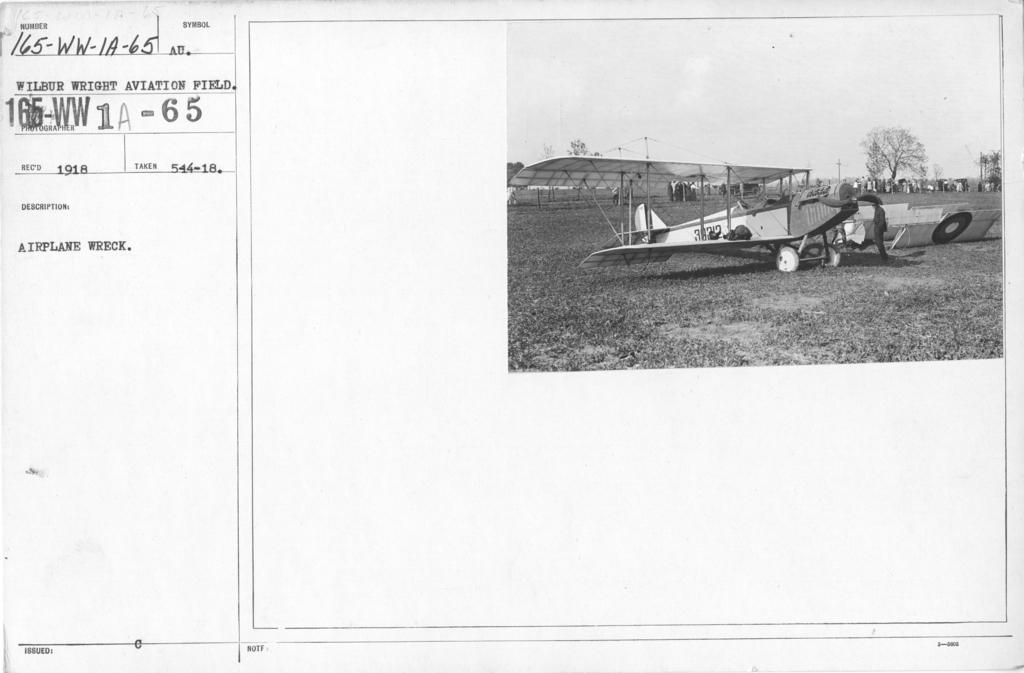 Airplanes - Accidents - Airplane Wreck. Wilbur Wright Aviation Field, Dayton, Ohio