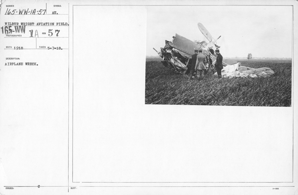 Airplanes - Accidents - Airplane Wreck. Wilbur Wright Aviation Field, Dayton, Ohio