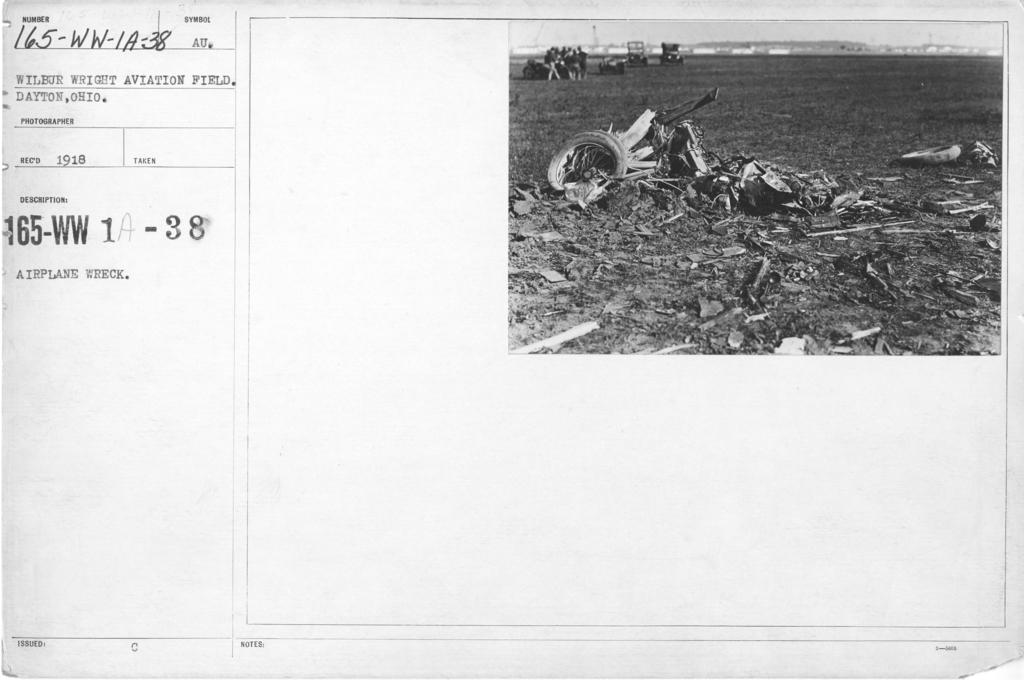 Airplanes - Accidents - Airplane Wrecks. Wilbur Wright Aviation Field, Dayton, Ohio