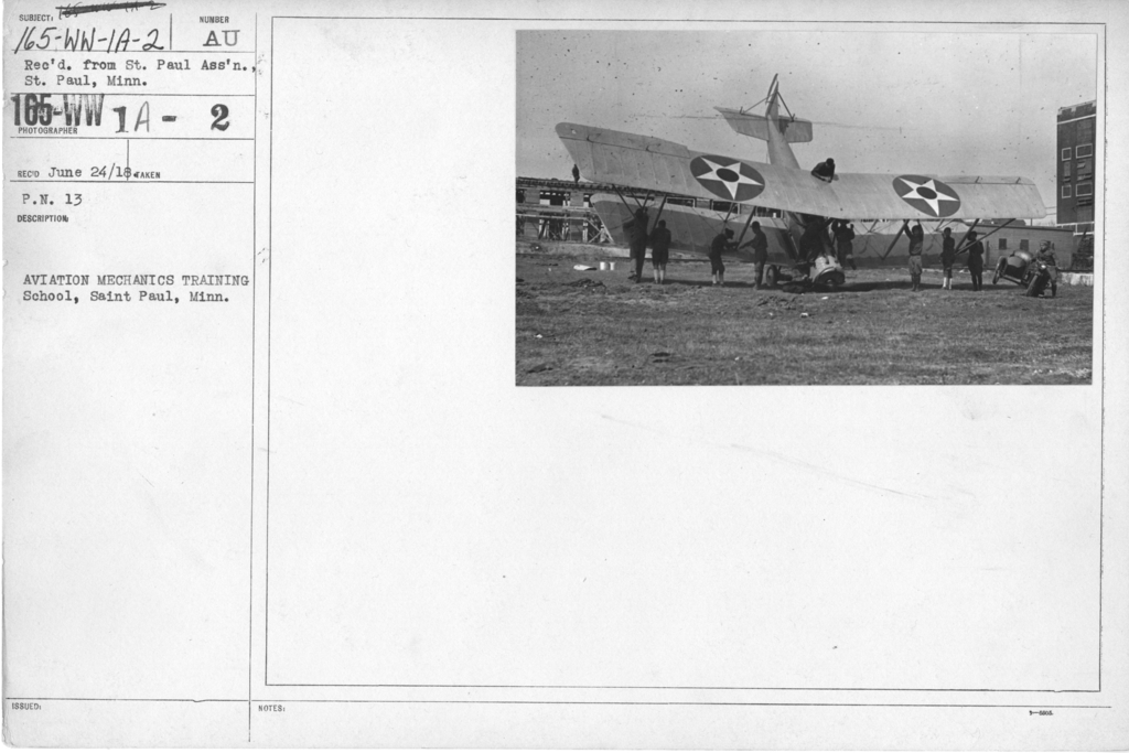 Airplanes - Accidents - Aviation Mechanics Training School, Saint Paul, Minn. Rec'd from St. Paul's Assn'., St. Paul, Minn