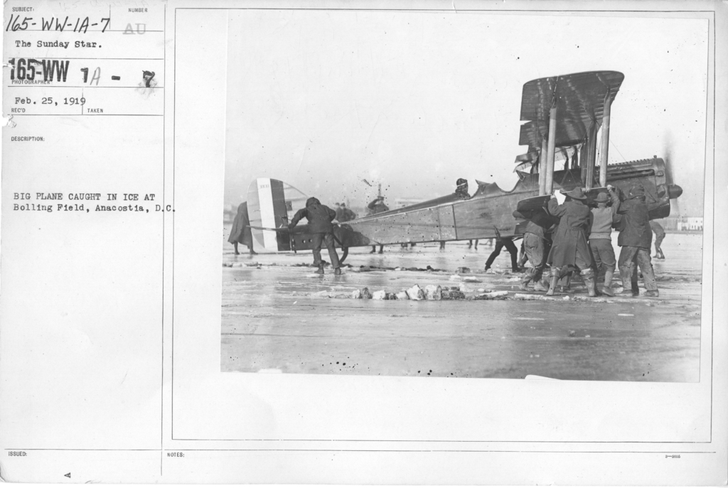 Airplanes - Accidents - Big plane caught in ice at Boiling Field, Anacostia, D.C. The Sunday Star