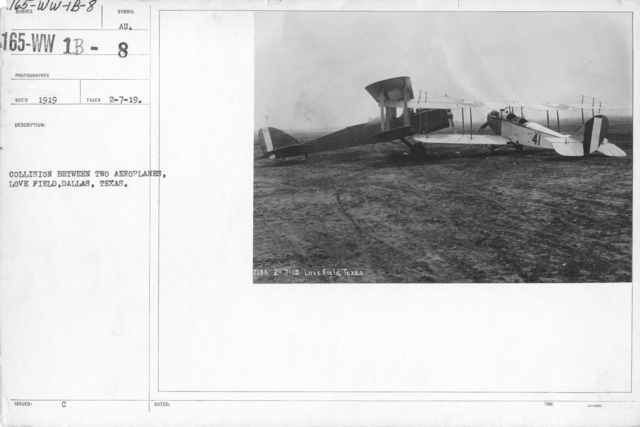 Airplanes - Accidents - Collision between two aero planes, Love Field, Dallas, Texas